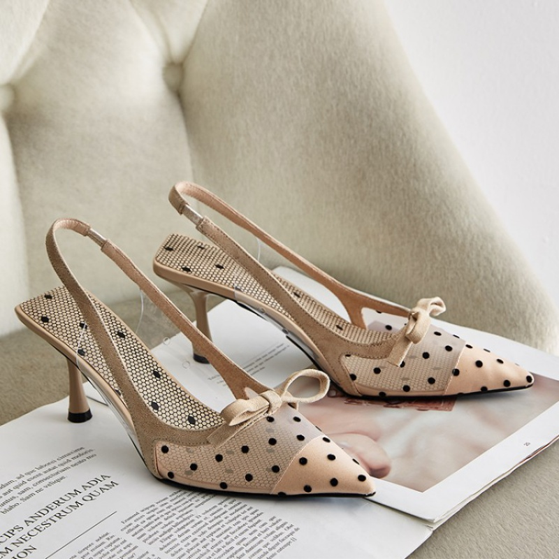 2020 summer new Xiannv style Baotou sandals womens small fragrance bowknot mesh wave point stiletto heels