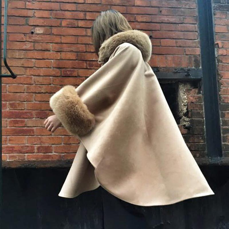 Cape coat womens autumn and winter British loose large woolen collar double faced tweed medium length woolen A-type shawl coat