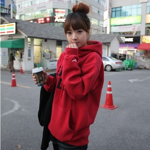 Hitz Korean fashion loose sweater jacket female spring and winter thick fleece hooded sweater tide