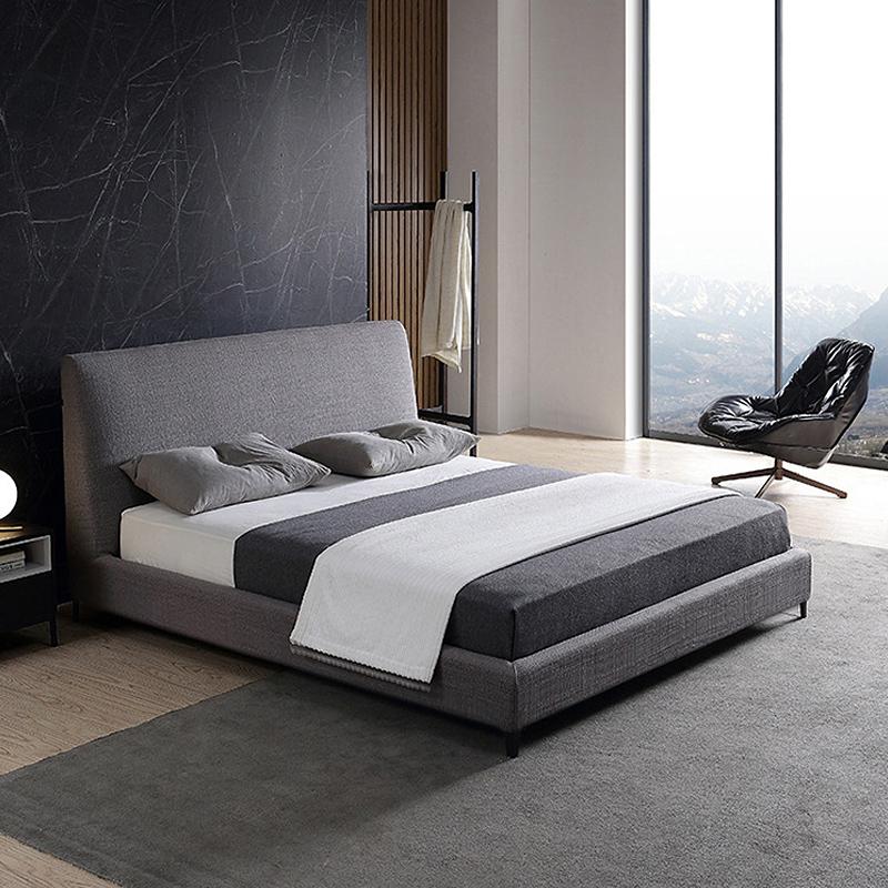 意式极简灰色布艺床 现代简约布床1.8米 北欧宜家双人床主卧布床