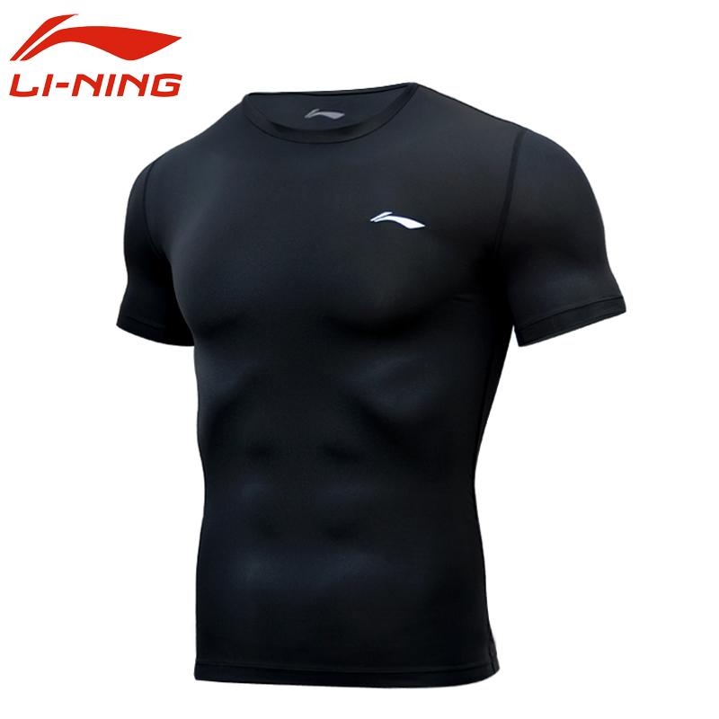 李寧健身衣男T恤服運動緊身衣健身房訓練壓縮衣速干圓領短袖上衣