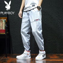 Playboy overalls Men Korean casual loose jeans fall harem pants mens Tide brand beam feet pants