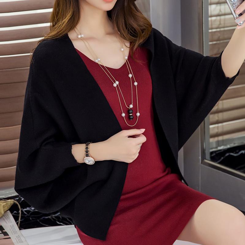 女式披肩外套女秋季2020年亚麻针织开衫春秋季蝙蝠衫女士毛衣外搭