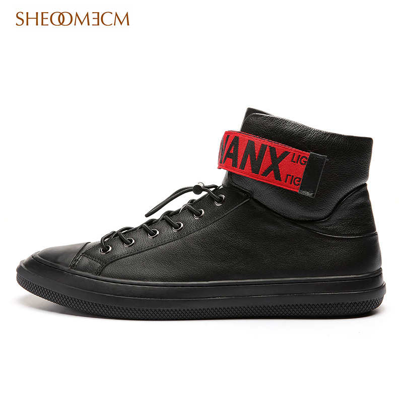 Spring 2020 high top casual board shoes Velcro fashion winter new Korean mens leather shoes trend
