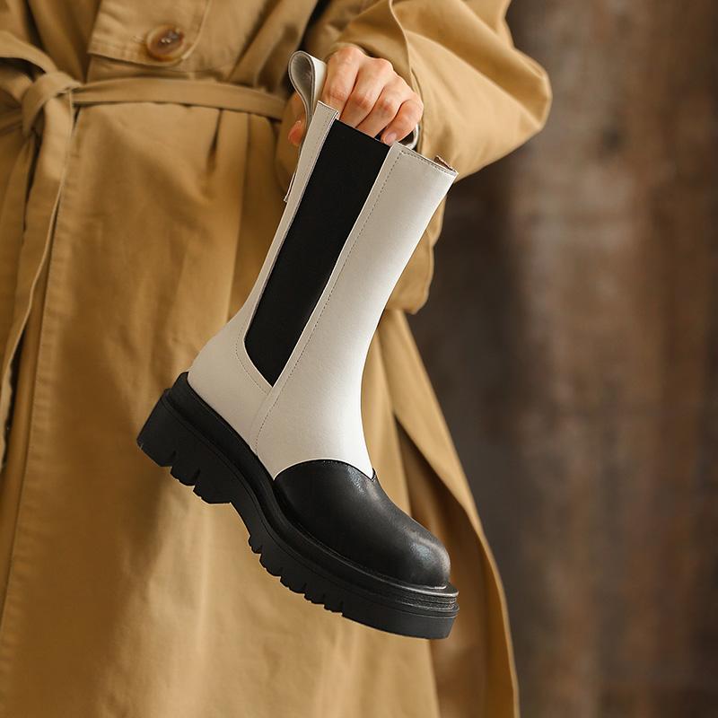 BV同款真皮马丁靴2021年新款中筒厚底切尔西短靴拼色圆头烟筒靴女