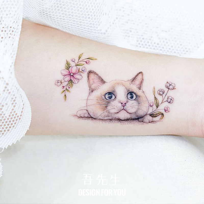 防水女持久花朵小猫咪可爱心纹身贴限时秒杀
