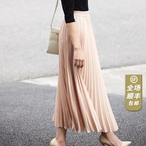 JJparty2021韩国进口TKY面料高腰中长款白色百褶裙半身长裙黑色