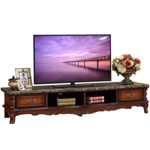 欧式电视柜 实木雕花法式大理石面茶几电视机柜组合储物地柜