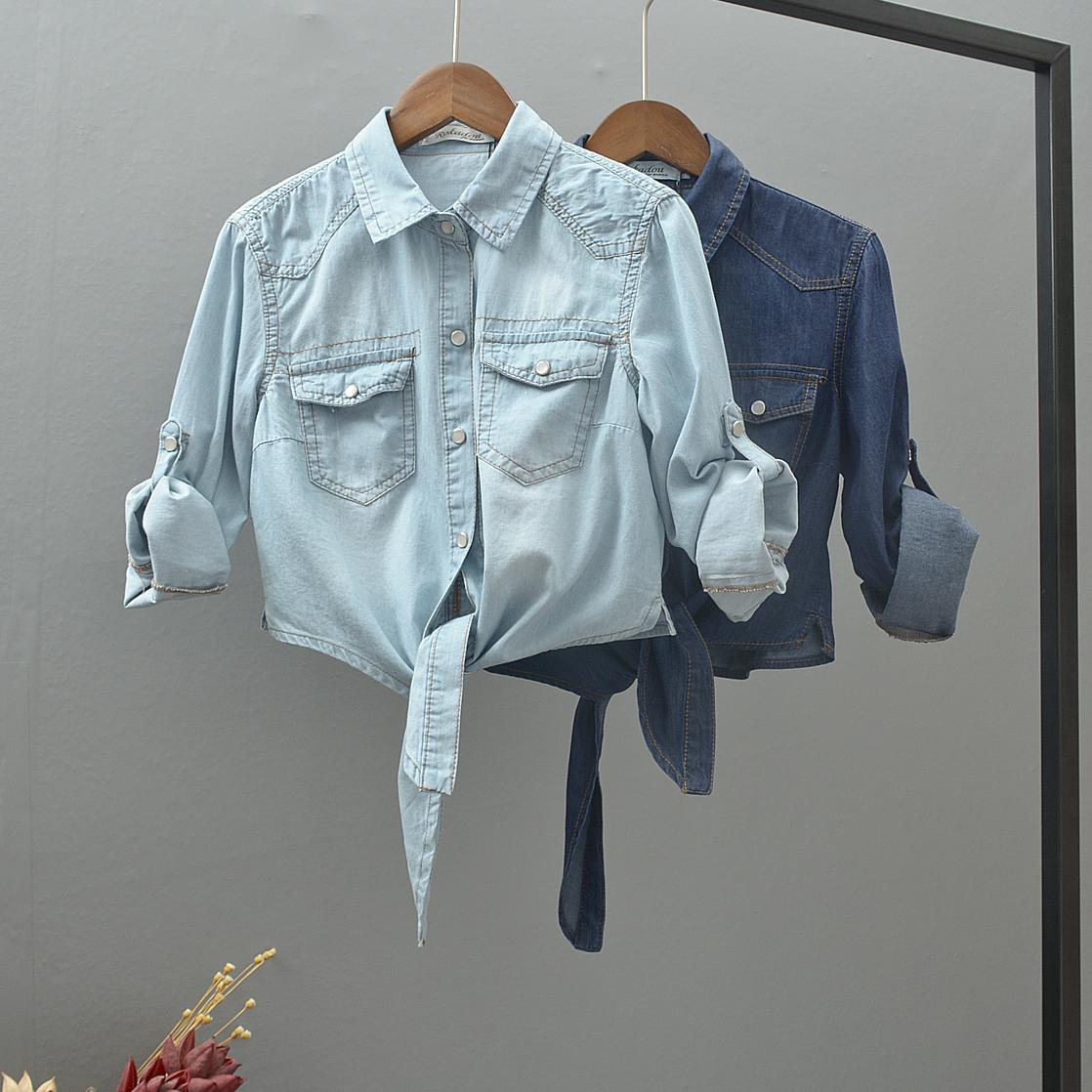 夏季新款宽松百搭七分袖薄款牛仔小外套女下摆打结短款防晒小披肩
