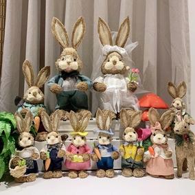 手工草编家居店铺装饰橱窗拍摄兔子