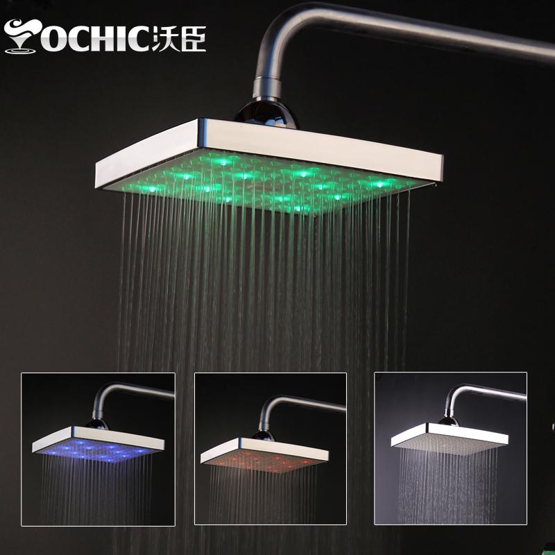 沃臣卫浴 方形LED温控自发光顶喷 头顶大花洒喷头 6寸8寸可选