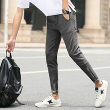 牛仔裤男韩版修身学生显瘦小脚裤刺绣男士九分裤弹力时尚铅笔裤子