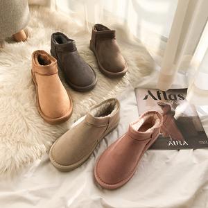 环球雪地靴女2019新款冬季女鞋低筒面包棉鞋一脚蹬加绒加厚短靴子