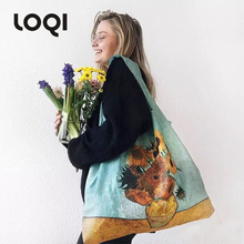 Loqi Van Gogh famous painting series shopping bag light foldable environmental protection bag fashion large capacity carry on bag