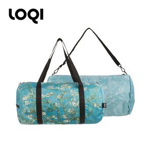 德国LOQI双面轻便旅行袋梵高名画手提单肩斜跨包健身包旅行包杏花