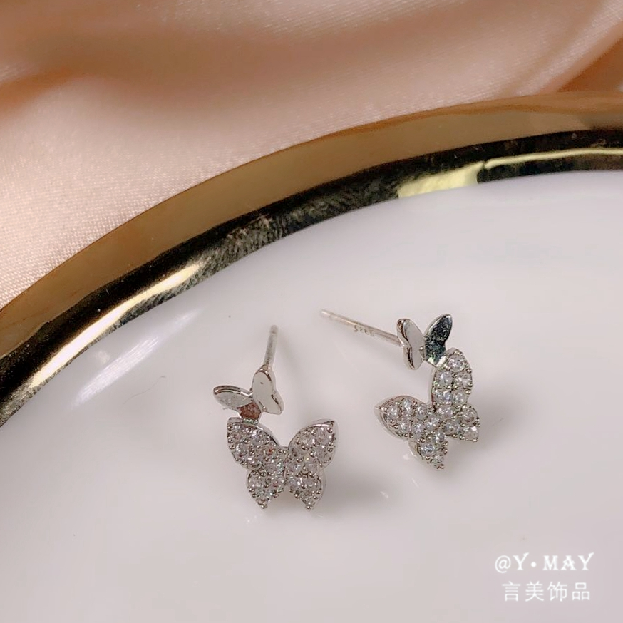 925 silver needle earrings, super fairy butterflies, exquisite inlay with precious stones, rose gold and Silver Earrings