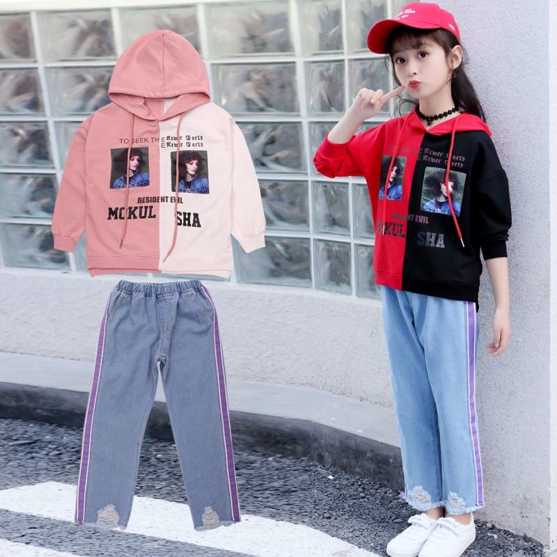 韩版儿童秋季女童童装件套套装中大童休闲牛仔裤两长袖卫衣秋装潮