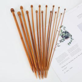 单头竹炭棒针 堵头木质长针 碳化竹棒针毛衣针 围巾针织毛线针