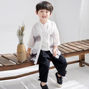 兒童春秋漢服男童中國風唐裝寶寶中式民族服裝小孩改良復古童套裝