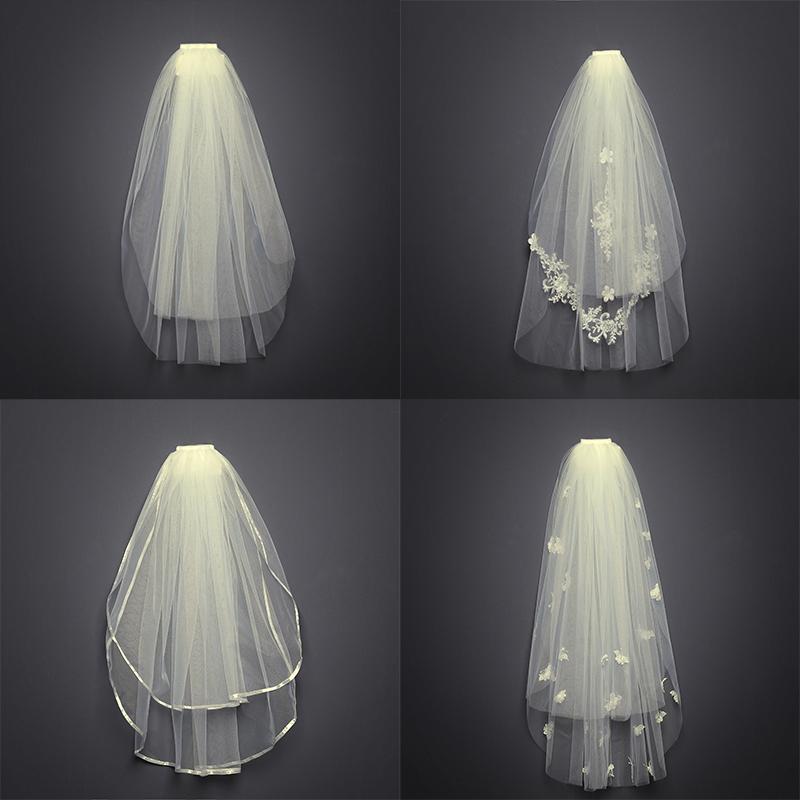 头纱新娘主婚纱女短款韩式双层白色简约网红拍照道具头饰超仙森系