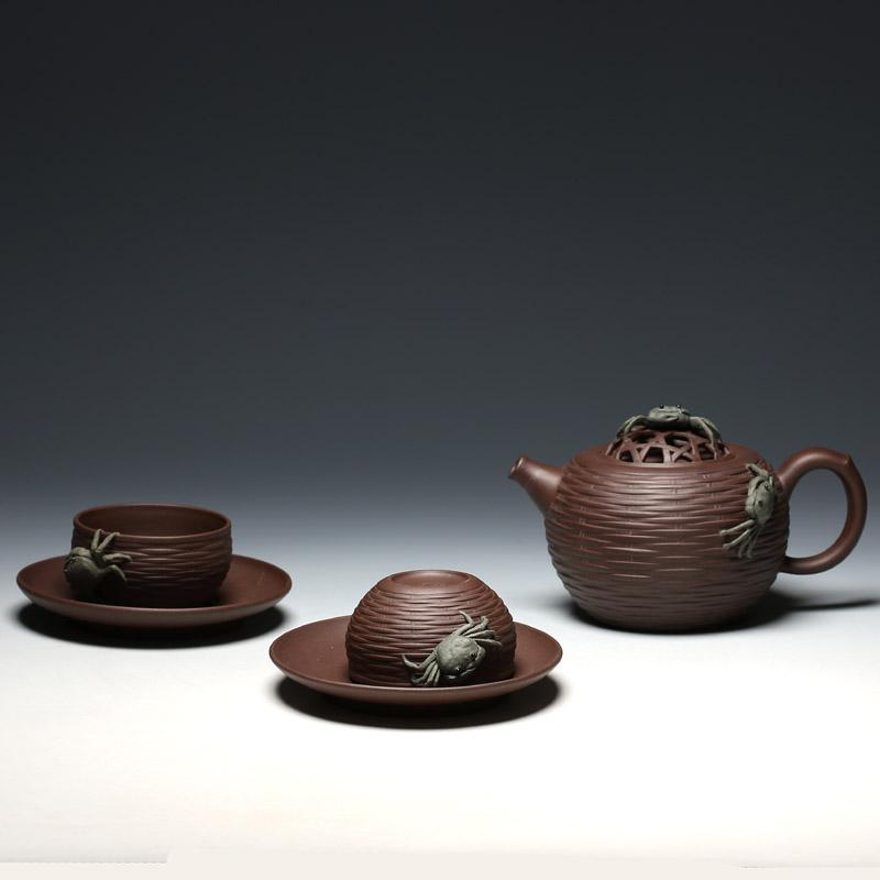 明理茶艺 何挺初 五头蟹篓茶具 宜兴紫砂壶 茶壶