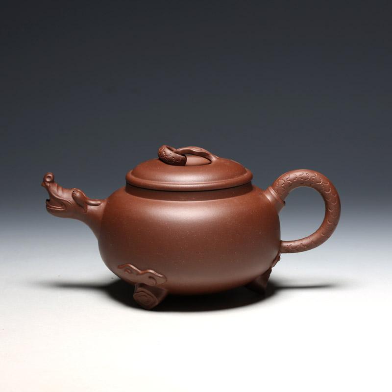 明理茶艺 何挺初全手工450CC龙团壶 宜兴紫砂壶  茶壶