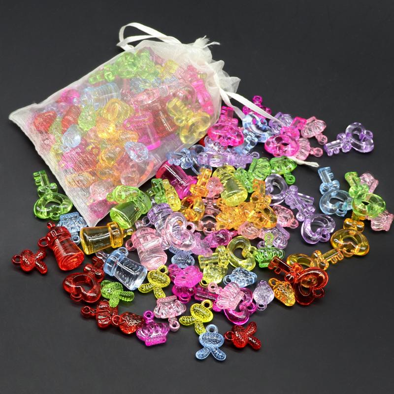 Childrens imitation crystal acrylic gem toy colorful Handmade Beaded girl Princess plastic cartoon treasure