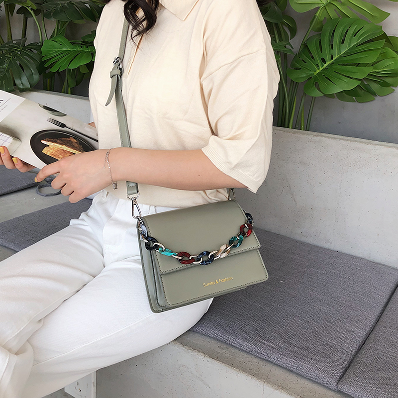 新品抖音同款彩色链条手挽韩版复古百搭单肩斜跨时尚潮流小方女包