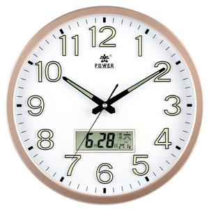 房间钟表 卧室 超静音时钟挂墙夜光带温度日历的挂钟霸王牌石英钟