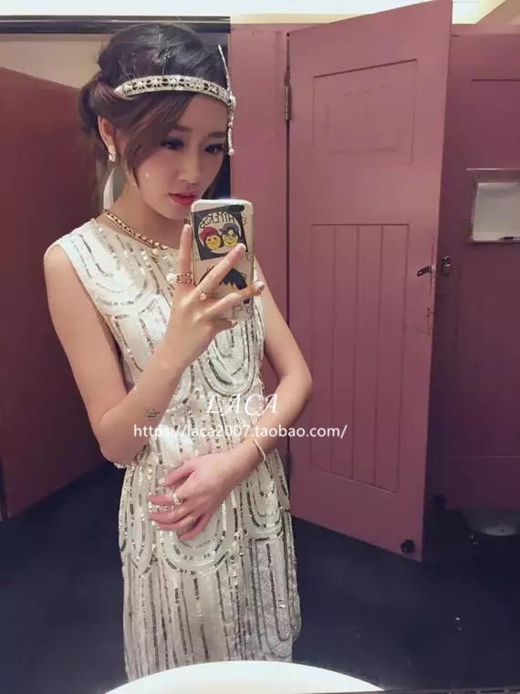 高端名媛 礼服短裙重工钉珠亮片无袖连衣裙中长款女春装2019新款