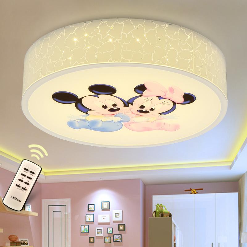 簡約無極調光卡通兒童LED吸頂燈男孩女孩米奇房間臥室書房燈