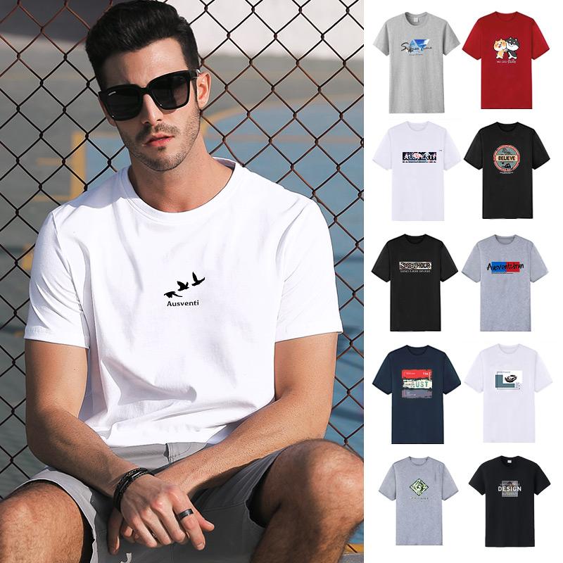 男士夏季短袖t恤2019新款纯棉上衣服宽松潮流半袖ins白�B体恤男装