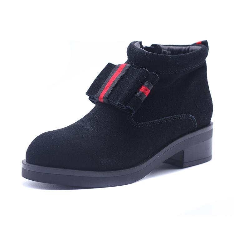鞋柜冬靴女英伦平底低跟绒面撞色弹力带保暖切尔西短靴1117607356