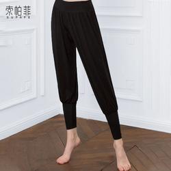 高腰宽松形体舞蹈萝卜裤女黑色练功服衣束脚灯笼收口瑜伽裤子服装