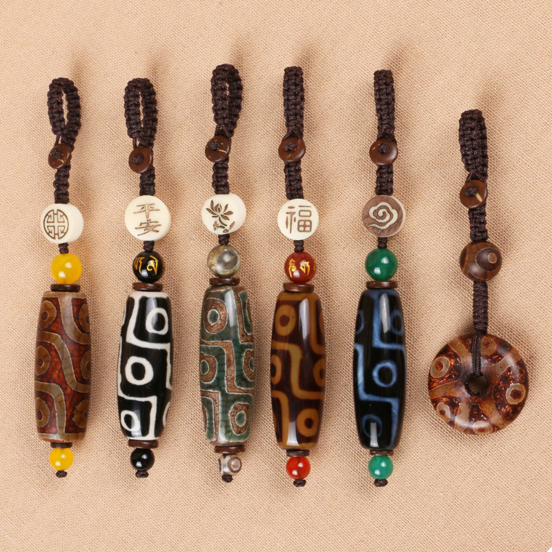 九眼天珠车钥匙挂件男女创意手工编织个性汽车钥匙扣随身包饰品 Изображение 1