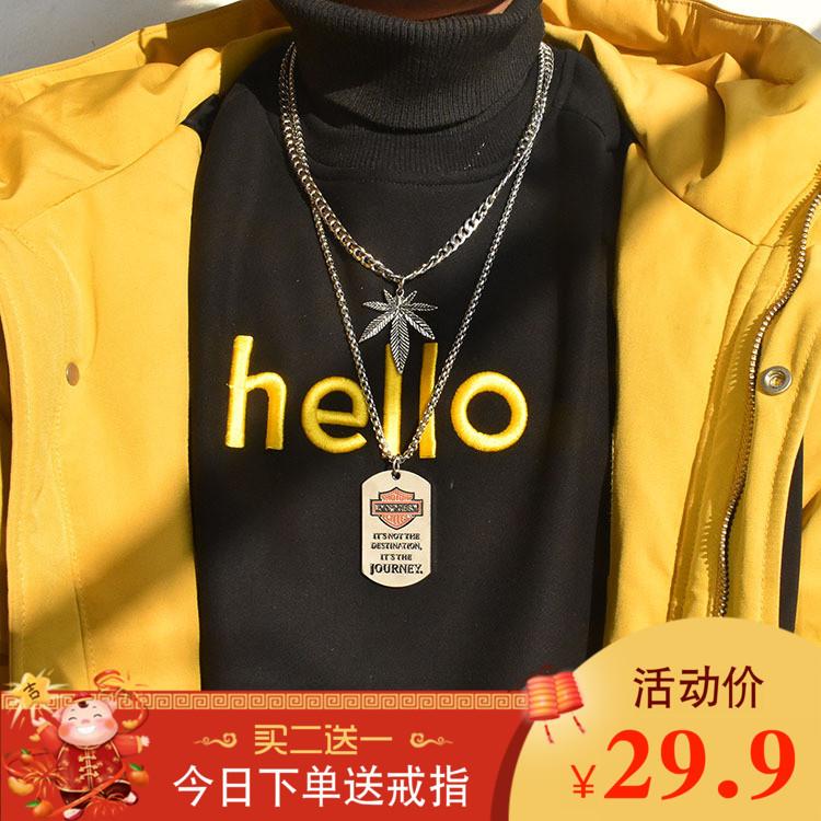 欧美嘻哈潮流中长款组合毛衣链叠戴男女项链ins网红钛钢挂件配饰
