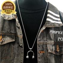 韩版时尚嘻哈音乐摇滚潮人吊坠耳机项链男士挂件饰品配饰毛衣链女