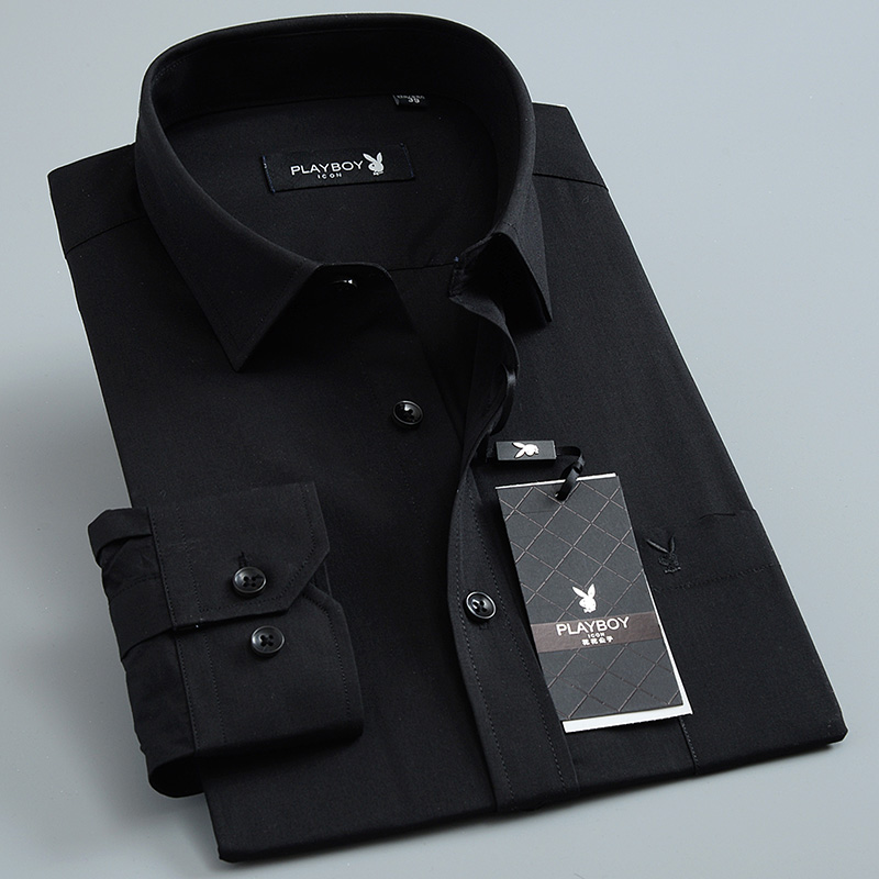 Spring and autumn mens Playboy long sleeve middle-aged pure black shirt business leisure cotton iron free shirt large tooling
