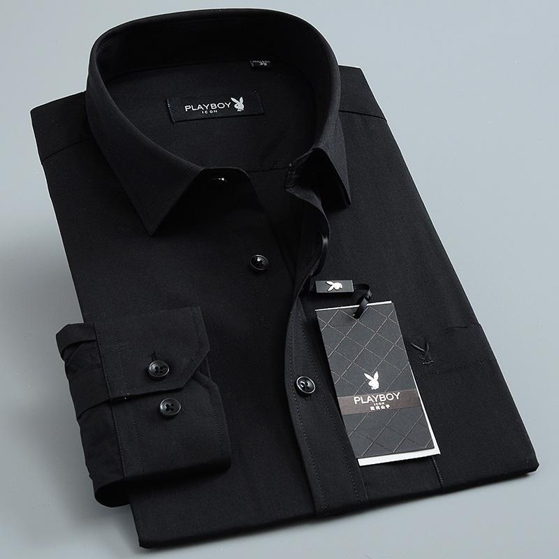 春秋男士花花公子长袖中年纯黑色衬衫商务休闲棉免烫衬衣大码工装