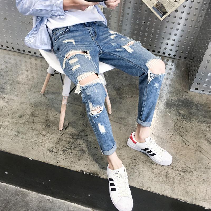 夏季破洞牛仔裤修身韩版潮流男士9分小脚刮烂九分乞丐裤子男薄款