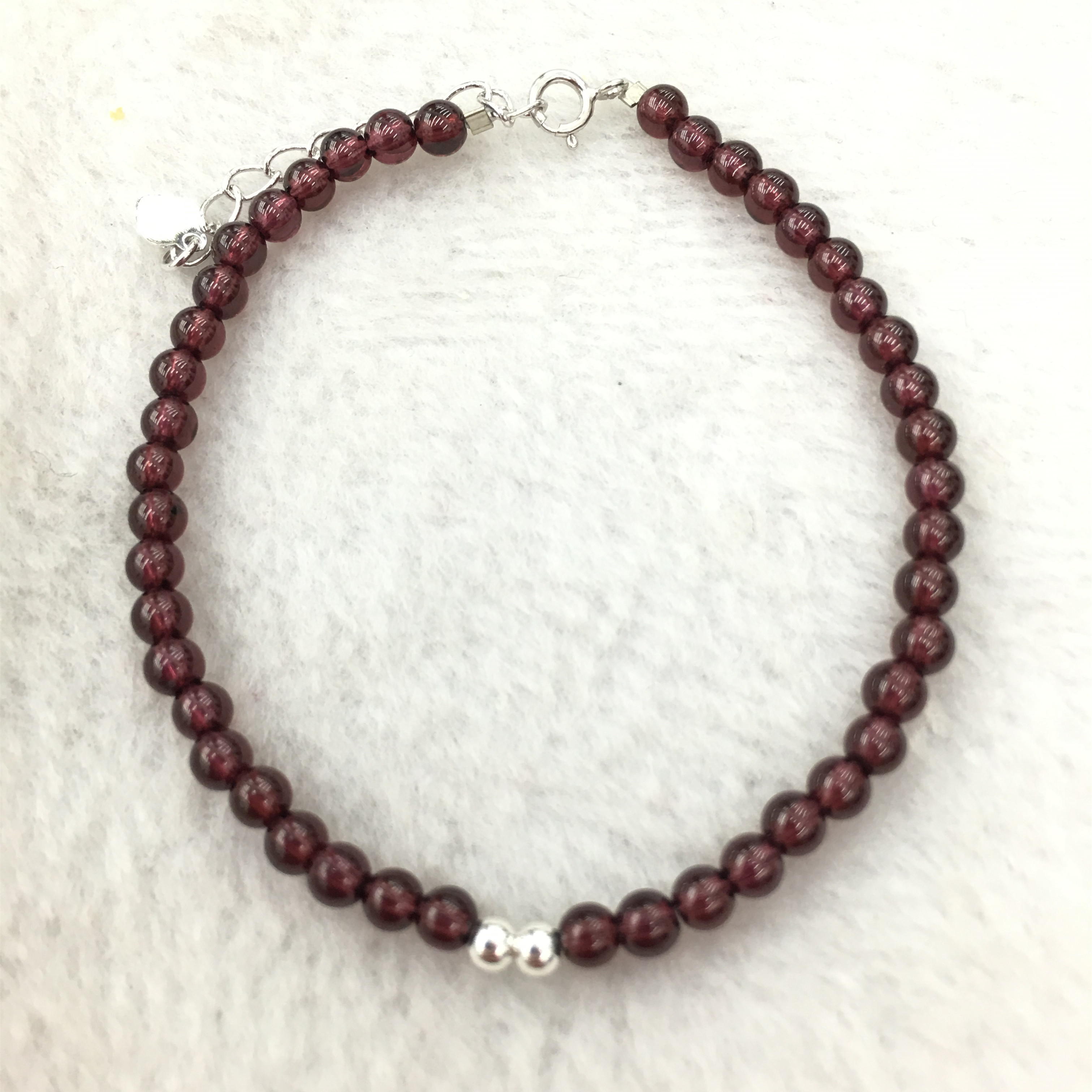 Suqing pearl natural crystal womens standard natural high permeability wine garnet single ring bracelet