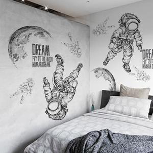 创意个性太空宇航员墙贴纸客厅卧室装饰书房走廊大型ins贴画自粘