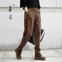 Shanji Plush autumn and winter corduroy pants loose radish pants striped flannelette casual pants women's cotton elastic feet thickened