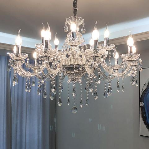 欧式吊灯客厅灯具现代简约蜡烛水晶灯简欧奢华大气主卧室餐厅灯饰