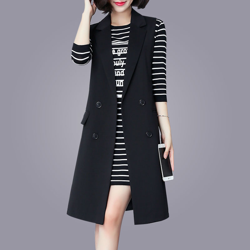 Jacket, women's spring and autumn 2020 new medium and long waistcoat, wear large black suit vest in Korean version