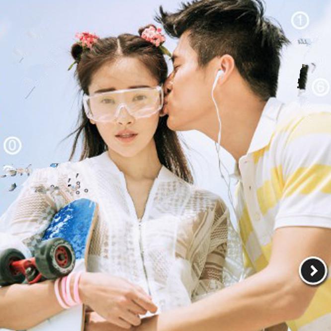 新款影楼旅拍婚纱摄影道具白色透明眼镜个性情侣写真拍摄道具眼镜