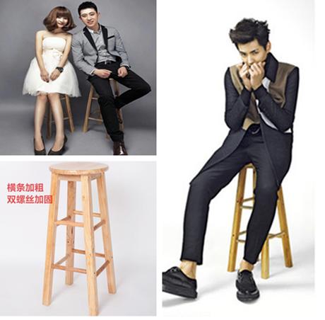 新款摄影道具椅子复古高脚凳子圆木色文艺范拍照儿童写真辅助道具