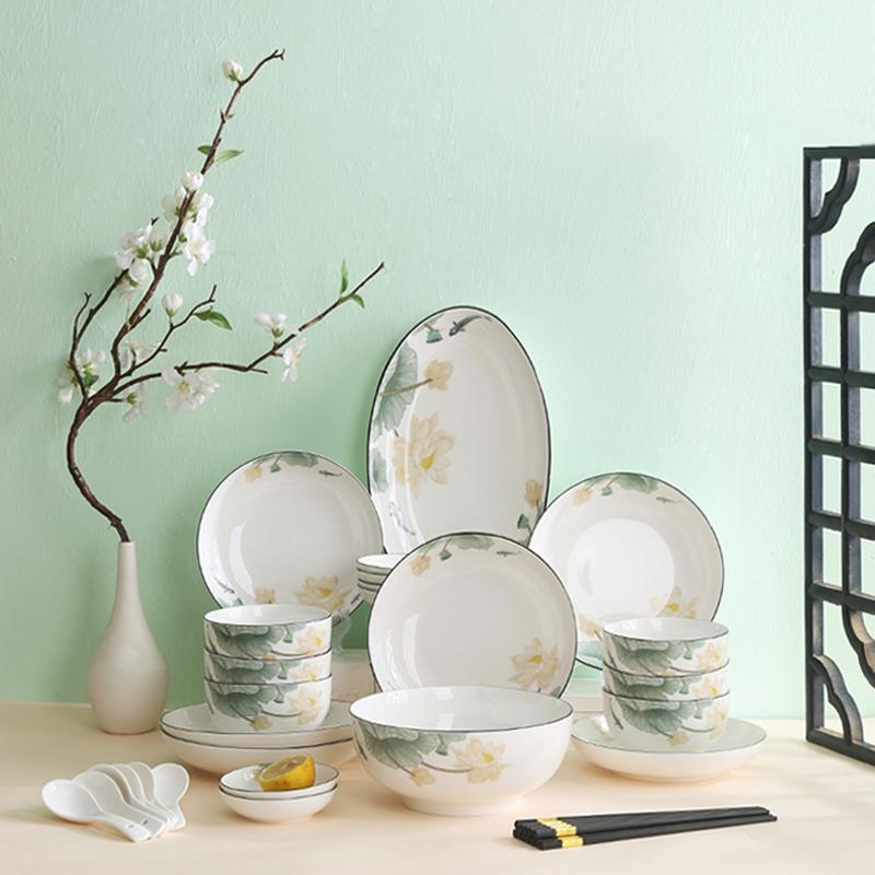 裕行北欧陶瓷中国风餐具套装碗碟套装盘子碗筷鱼盘套装莲年有鱼