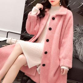 水貂绒外套女大衣宽松2020新款秋冬季韩版开衫中长款大衣加厚毛衣
