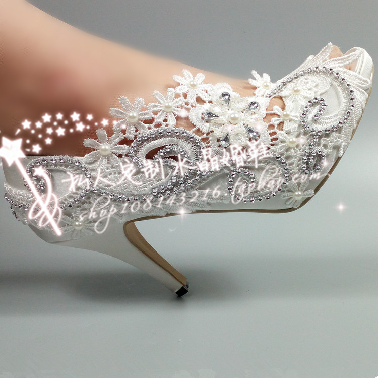 White lace fish mouth wedding shoes silk satin super high heel pearl diamond crystal side empty bridal dress photo taking womens single shoes
